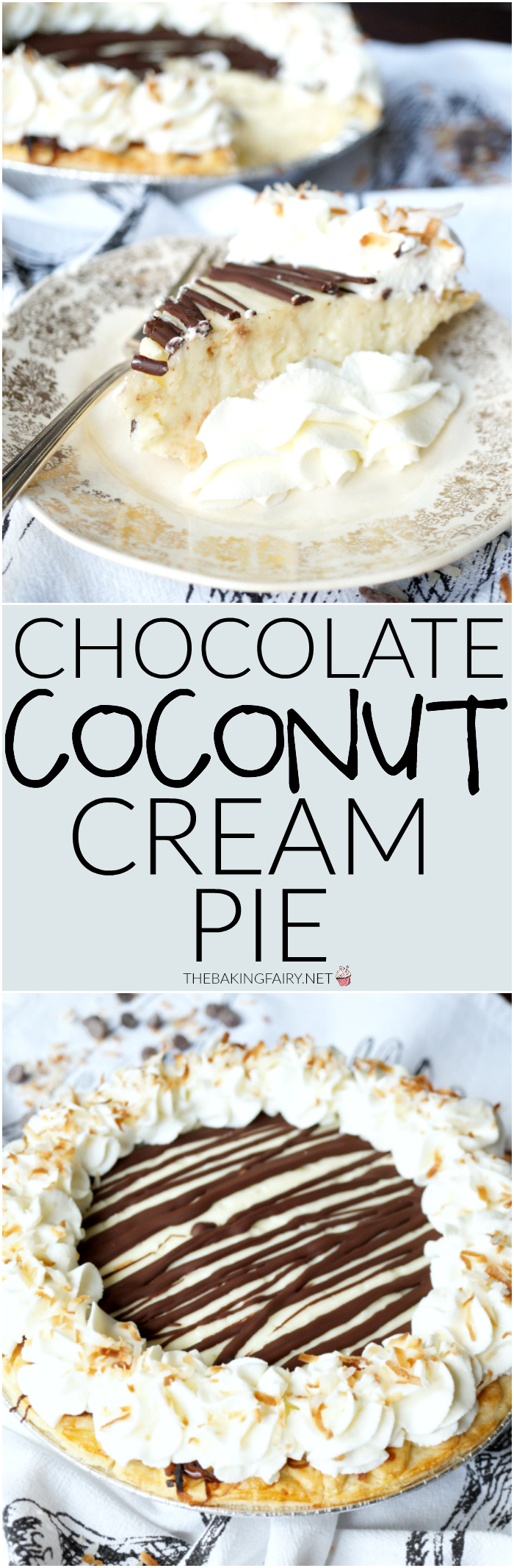 chocolate coconut cream pie | The Baking Fairy