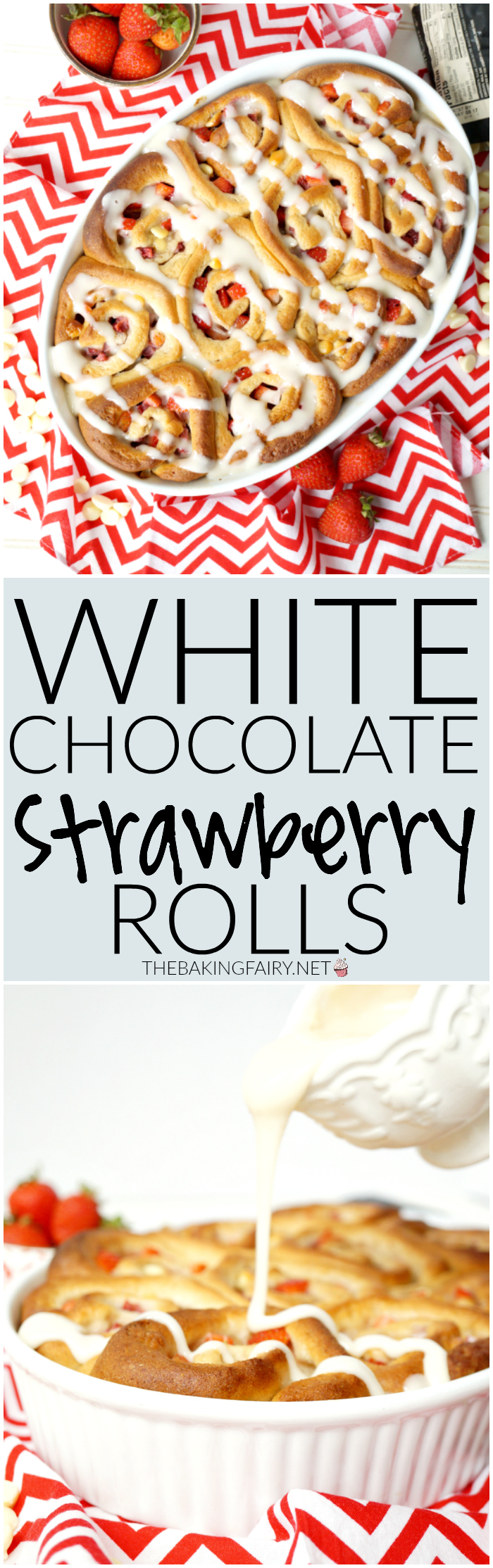 white chocolate strawberry rolls | The Baking Fairy