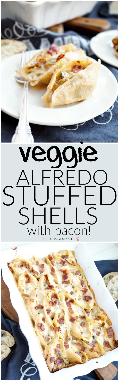 veggie alfredo stuffed shells with bacon   The Baking Fairy