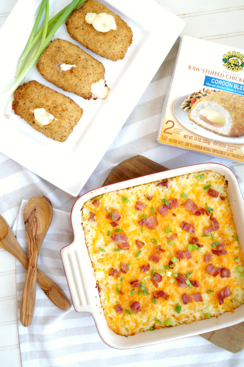 loaded mashed cauliflower casserole with Barber Foods stuffed chicken | The Baking Fairy #ad