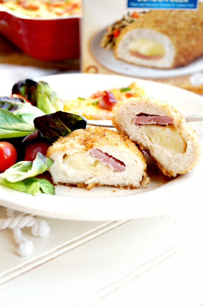 loaded mashed cauliflower casserole with Barber Foods stuffed chicken