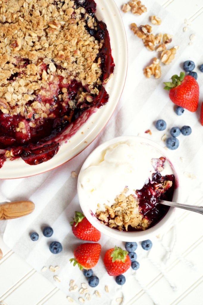 browned butter triple berry crisp