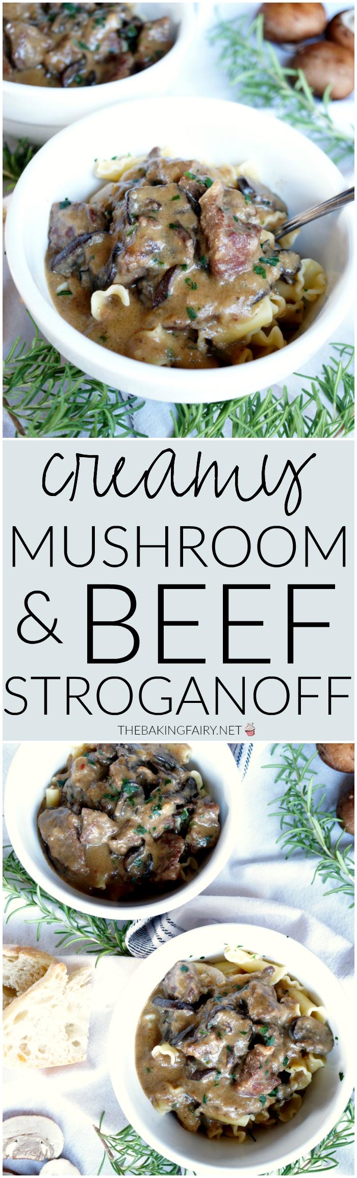 creamy mushroom and beef stroganoff | The Baking Fairy