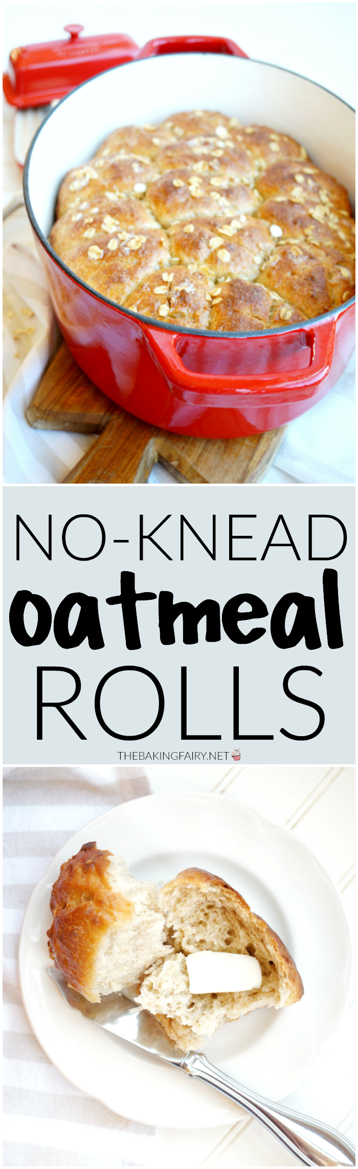 no-knead oatmeal rolls | The Baking Fairy