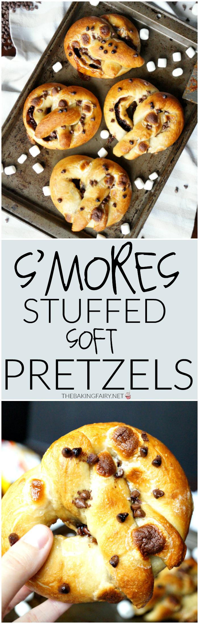 s'mores stuffed pretzels   The Baking Fairy