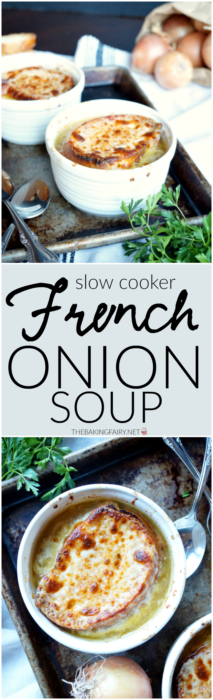 slow cooker french onion soup | The Baking Fairy