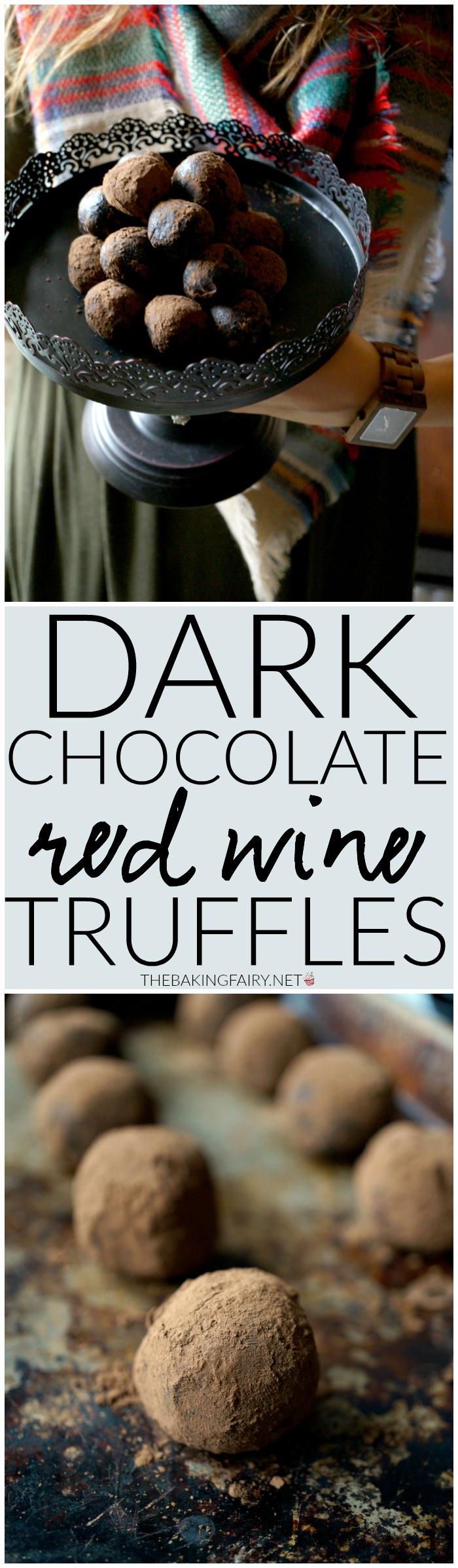 dark chocolate red wine truffles | The Baking Fairy