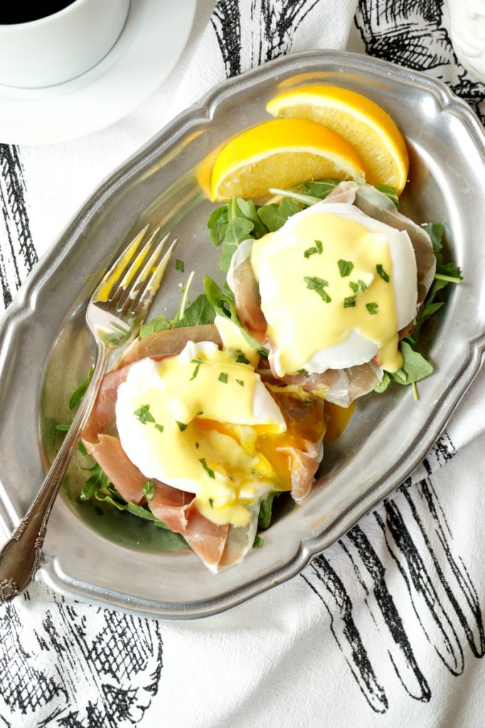 prosciutto arugula eggs benedict | The Baking Fairy