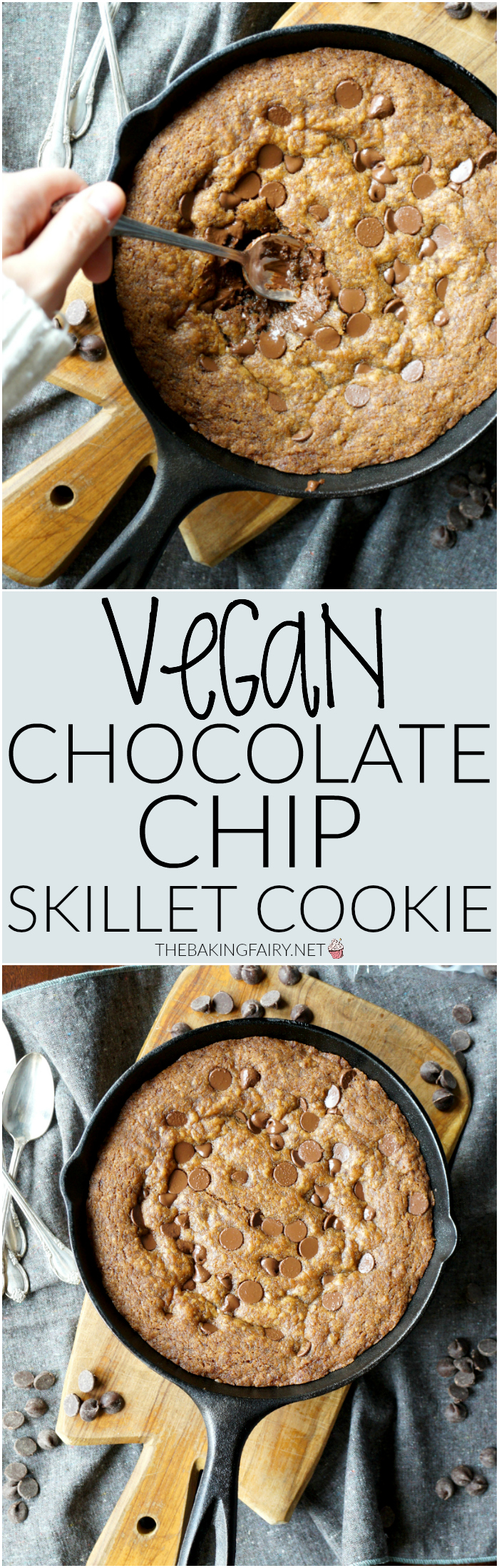 vegan chocolate chip skillet cookie | The Baking Fairy