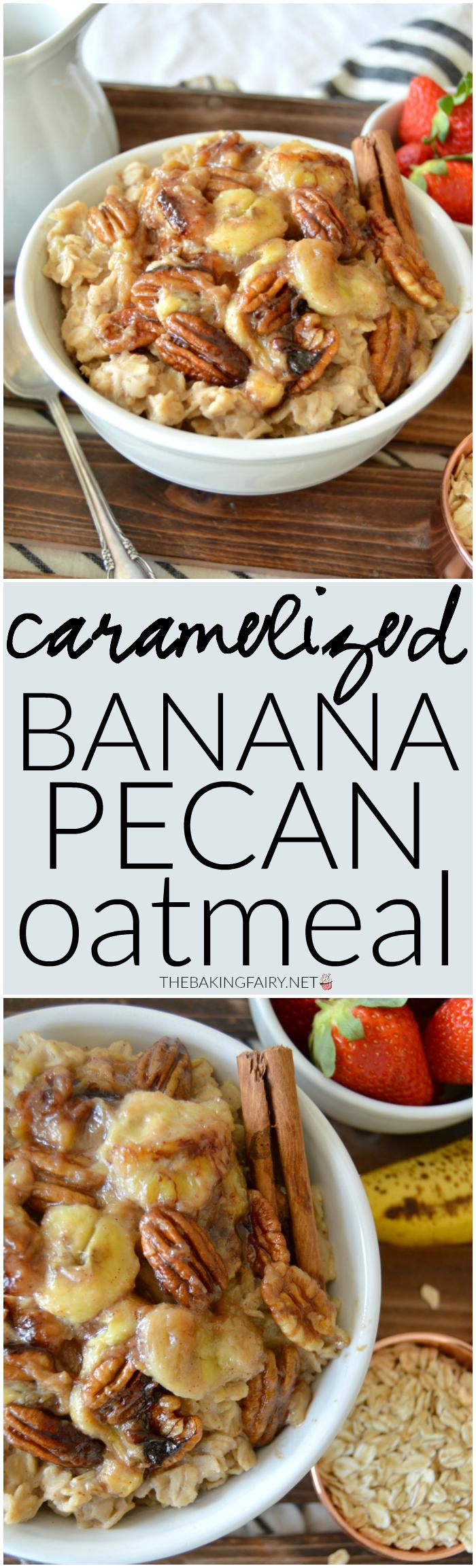 caramelized banana pecan oatmeal | The Baking Fairy #TasteTruvia #ad