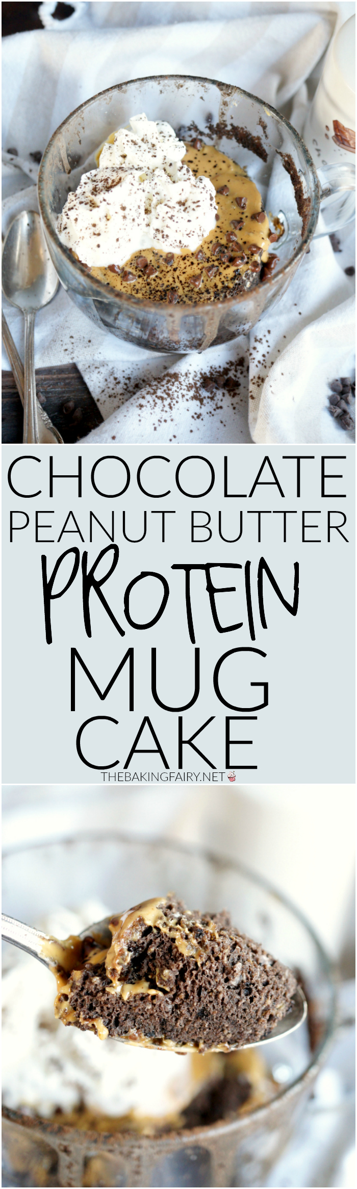 chocolate peanut butter protein mug cake | The Baking Fairy