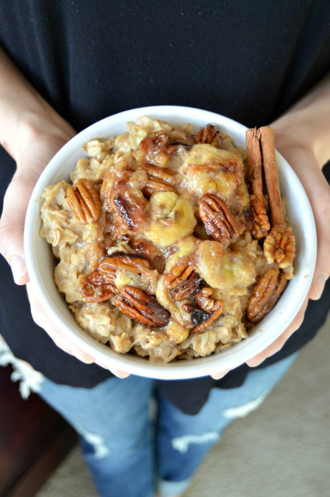 caramelized banana pecan oatmeal