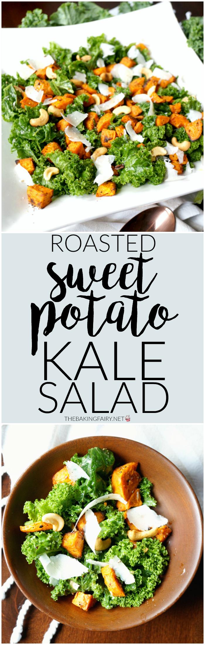 roasted sweet potato kale salad | The Baking Fairy