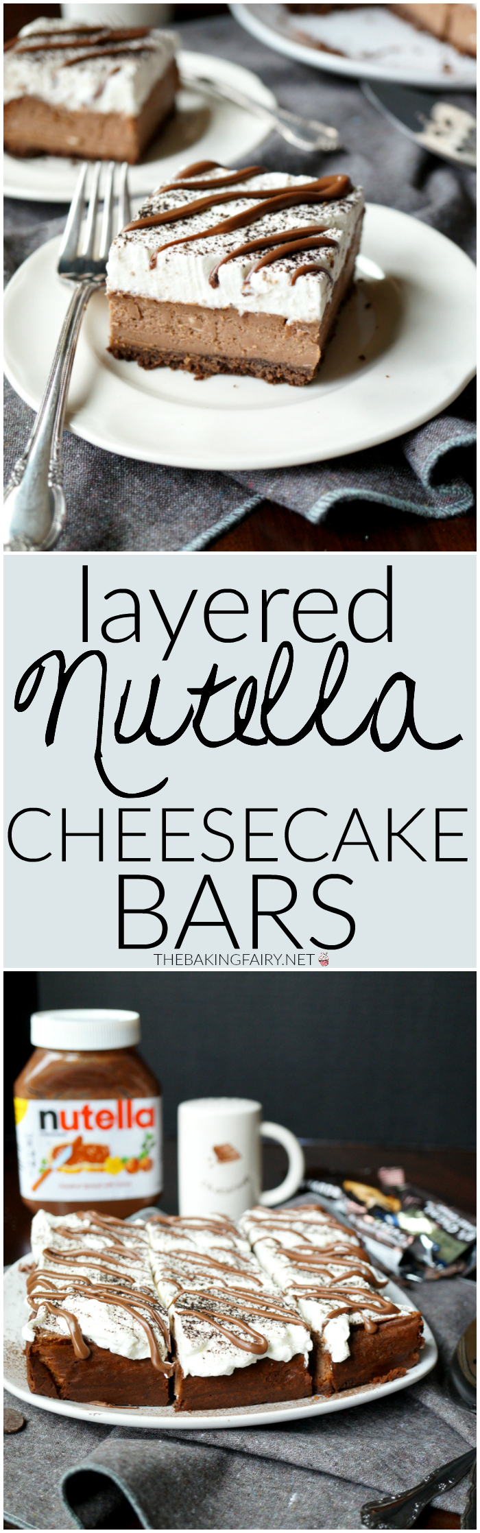 layered Nutella cheesecake bars | The Baking Fairy