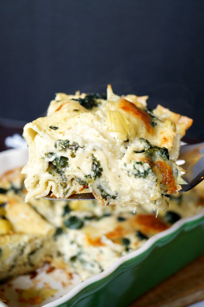 three cheese spinach artichoke lasagna