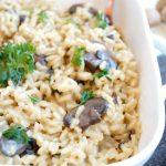 creamy parmesan mushroom risotto | The Baking Fairy