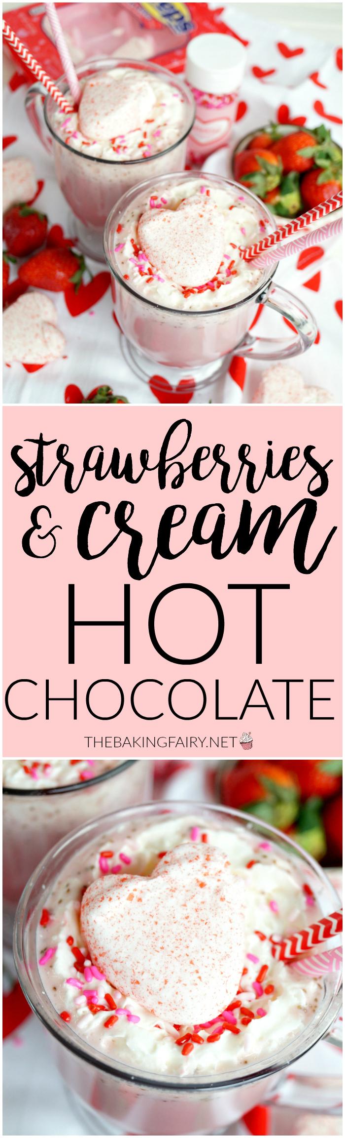 strawberries & cream hot chocolate | The Baking Fairy