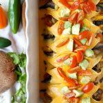 vegan fajita enchiladas with cheesy sauce   The Baking Fairy