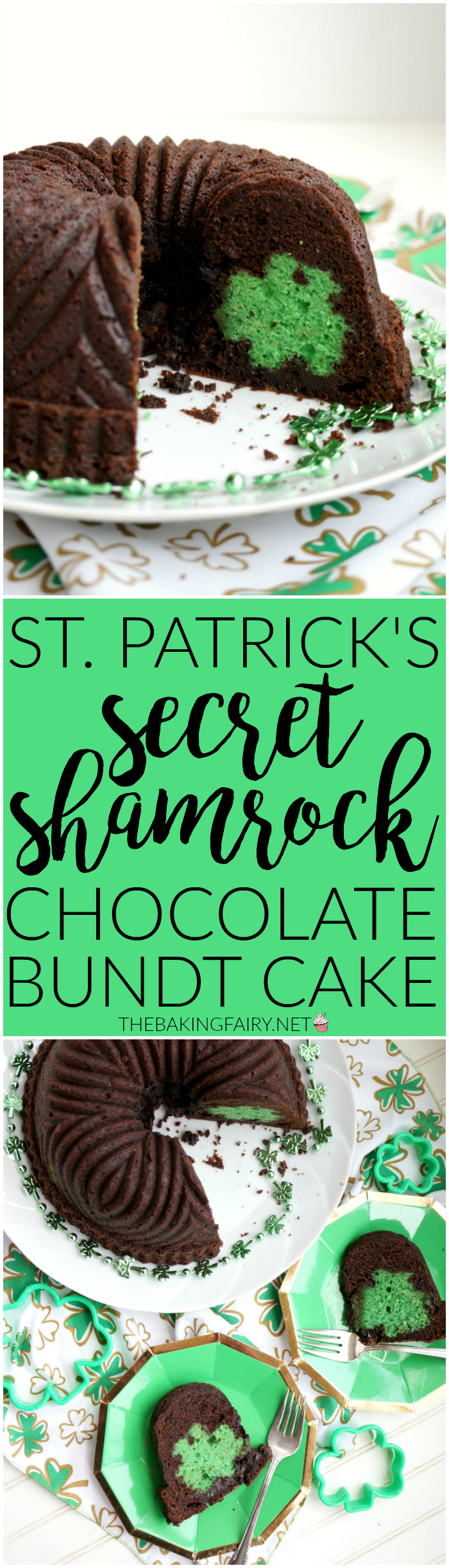 st. patrick secret shamrock chocolate bundt cake | The Baking Fairy