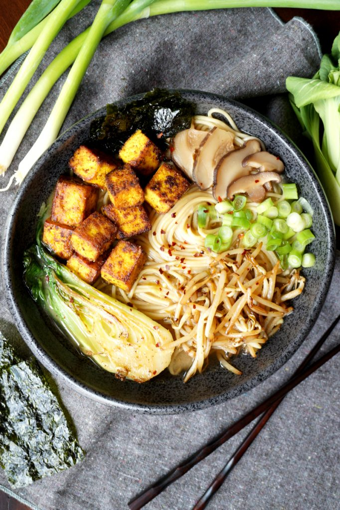 vegan crispy tofu ramen | The Baking Fairy