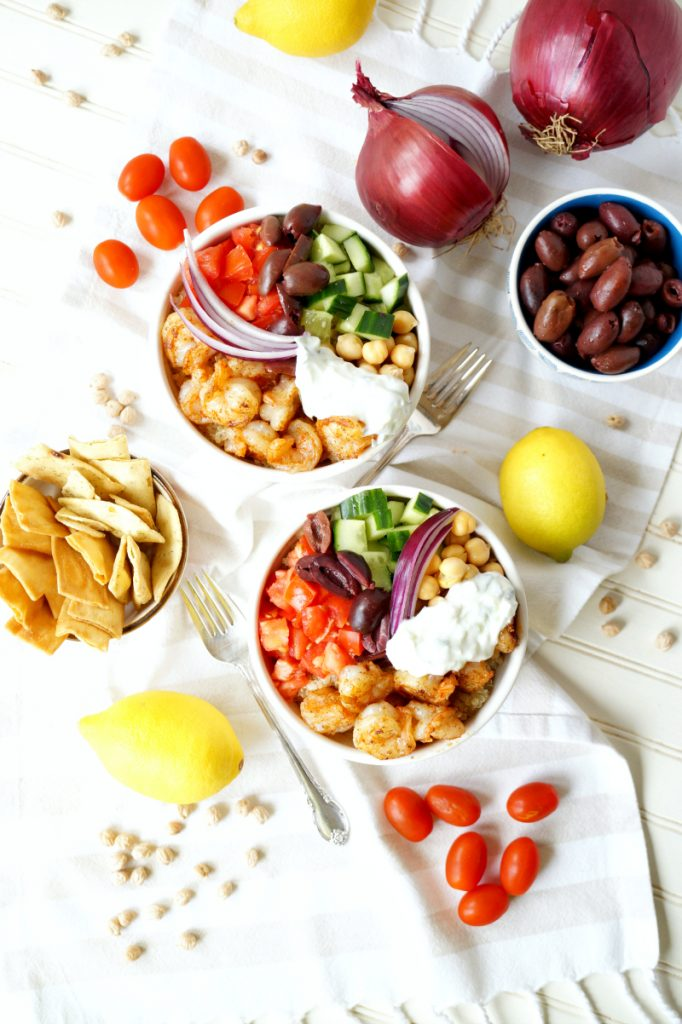 Greek grilled shrimp quinoa bowls