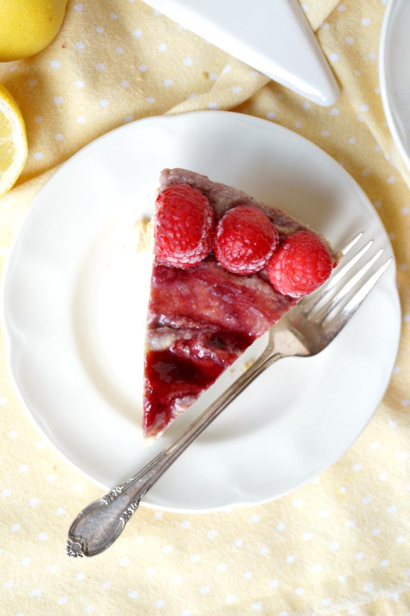 vegan lemon raspberry cheesecake pie | The Baking Fairy