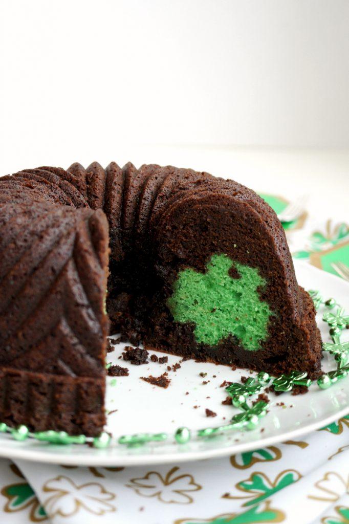 St. Patrick secret shamrock chocolate bundt cake