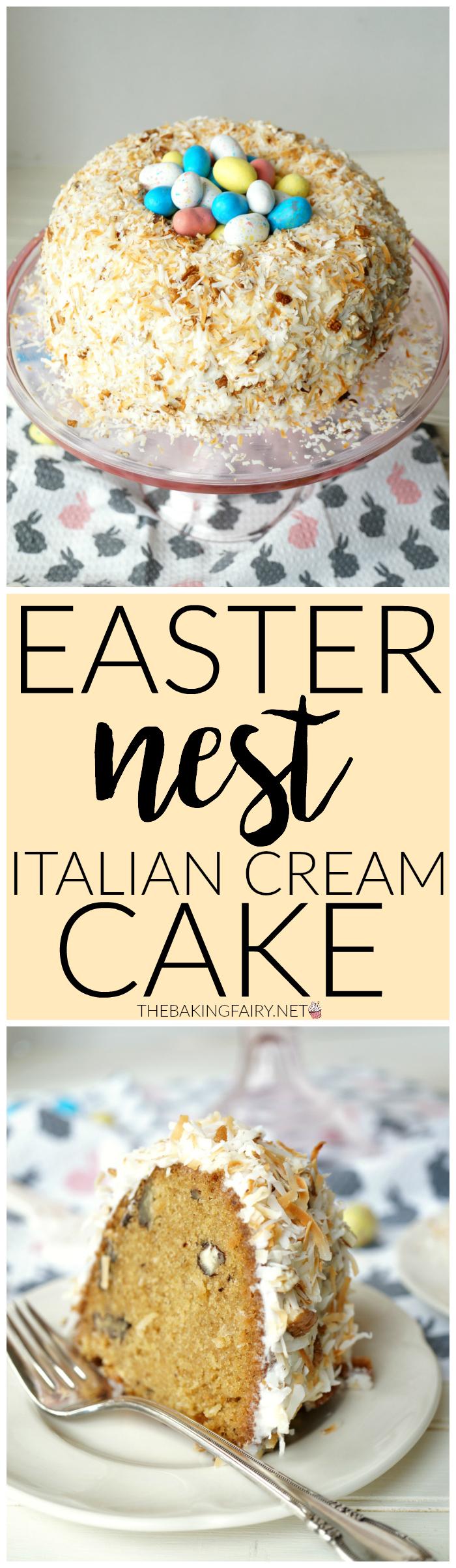easter nest italian cream cake | The Baking Fairy