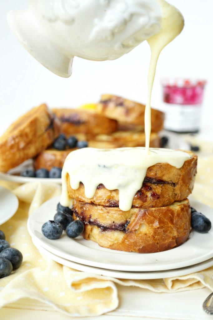 blueberry preserves stuffed french toast with lemon pastry cream