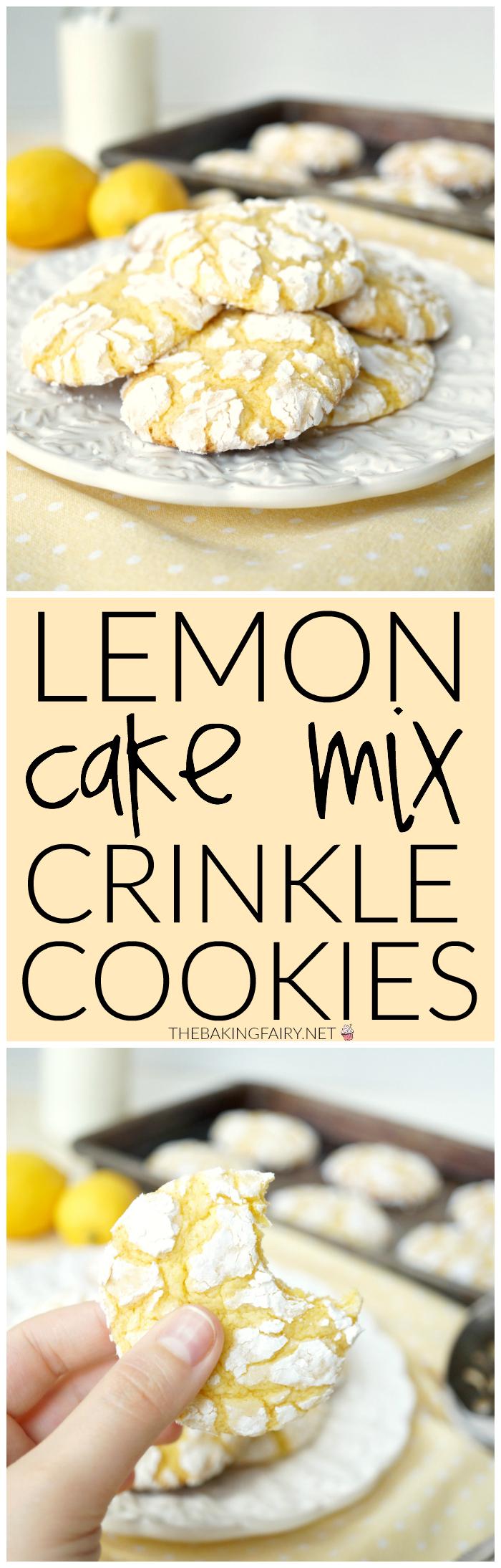 lemon cake mix crinkle cookies | The Baking Fairy