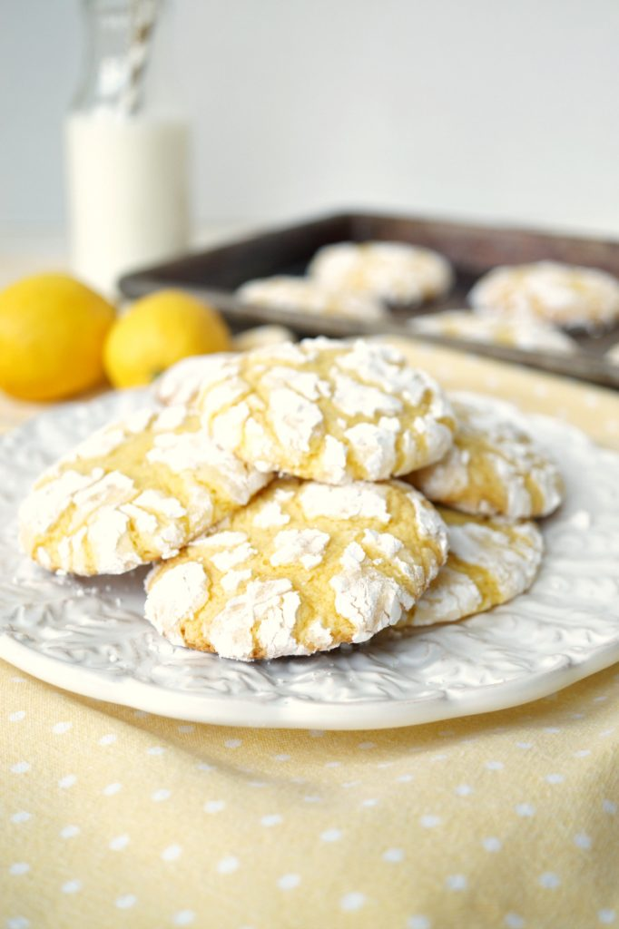 lemon cake mix crinkle cookies