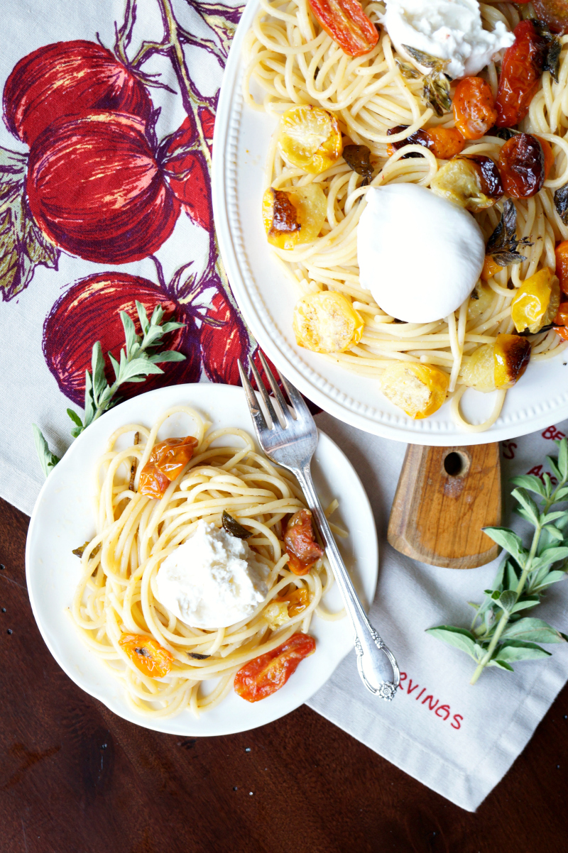 roasted cherry tomato and burrata pasta | The Baking Fairy