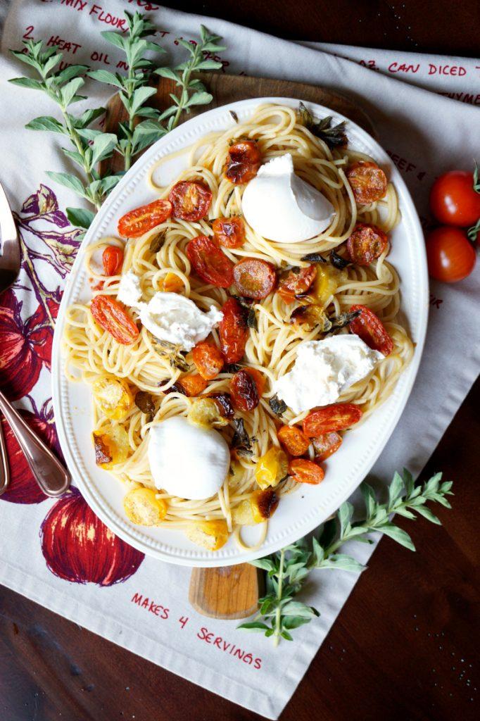 roasted cherry tomato and burrata pasta   The Baking Fairy