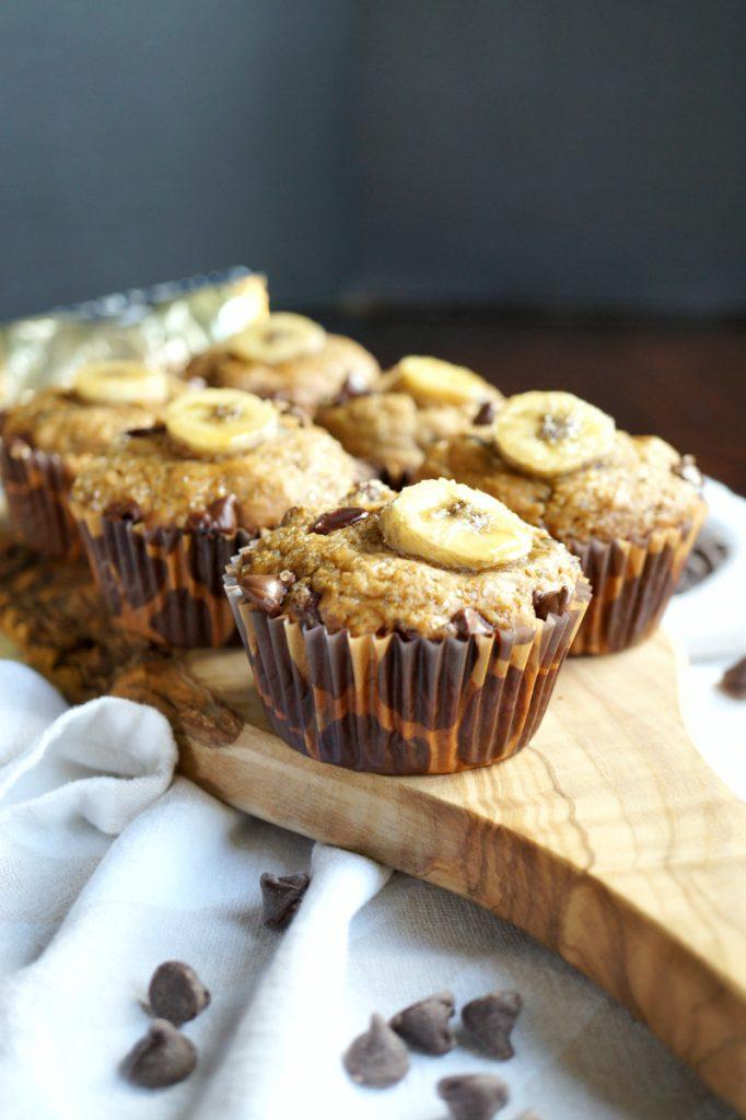 vegan chocolate chip banana muffins | The Baking Fairy