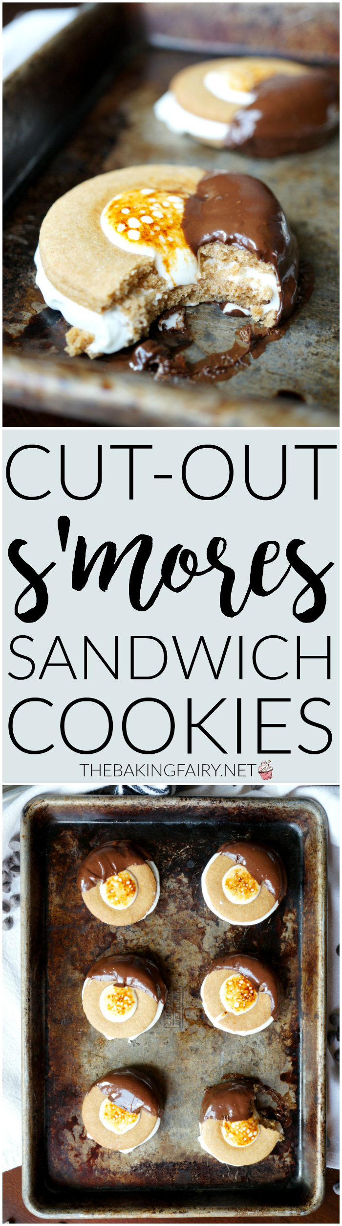cut-out s'mores sandwich cookies | The Baking Fairy