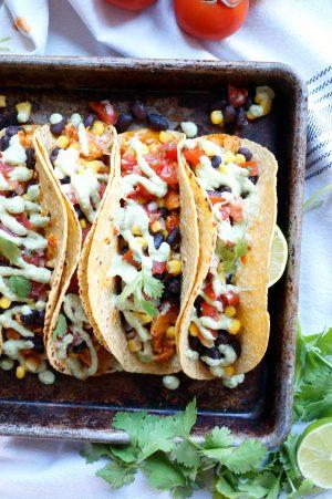 vegan sofritas tacos with cilantro lime cashew cream | The Baking Fairy