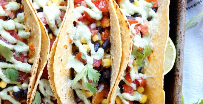 vegan sofritas tacos with cilantro lime cashew cream