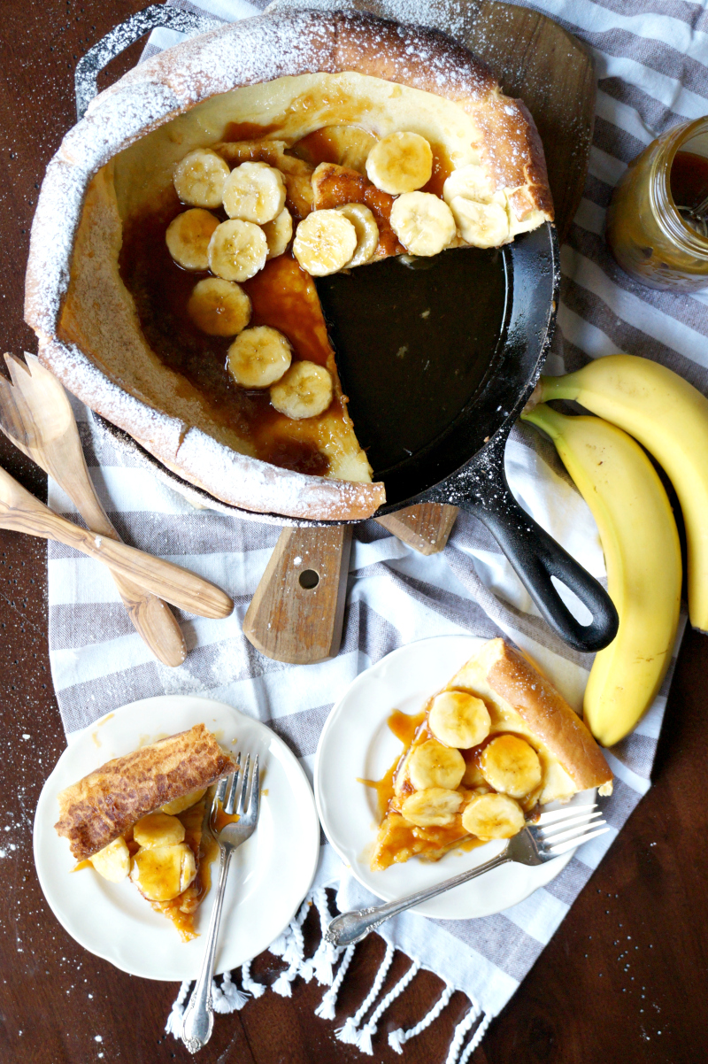 Dutch baby pancake with bananas and coconut caramel | The Baking Fairy
