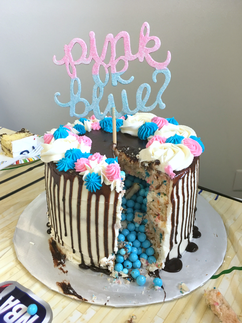 gender reveal piñata cake | The Baking Fairy
