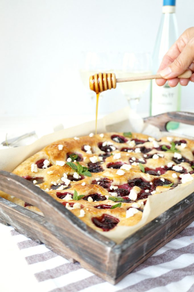 cherry honey goat cheese focaccia | The Baking Fairy #21andup #ad #CavitWines #LoveItShareIt