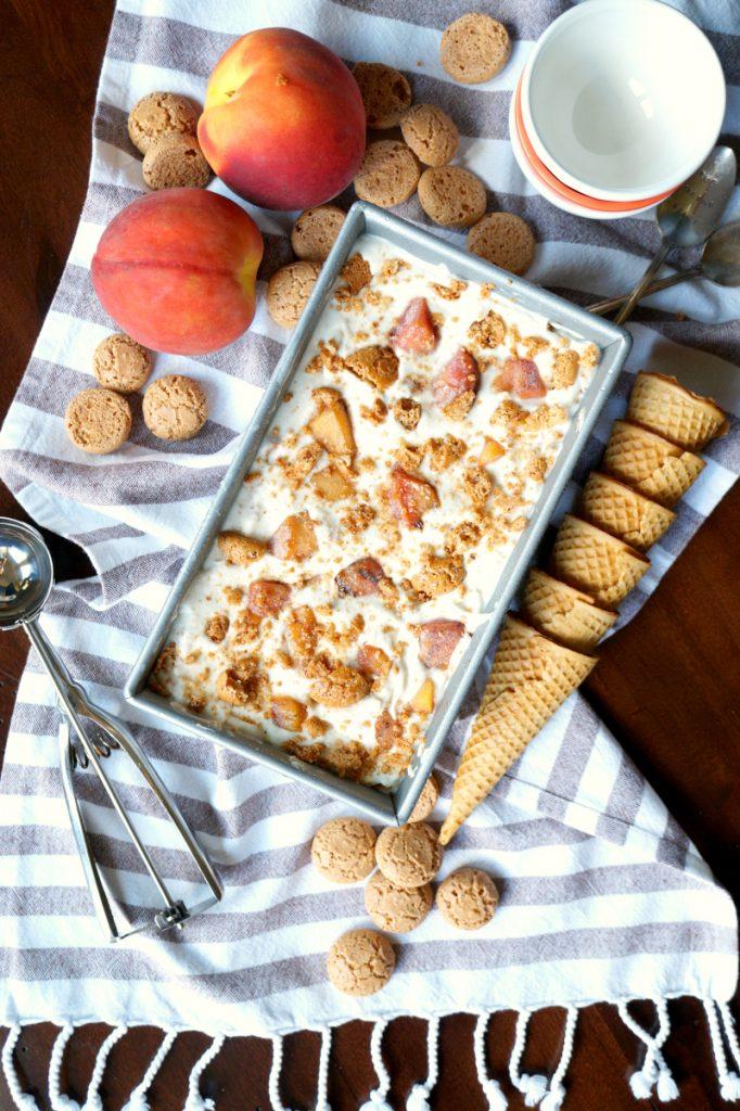 grilled peach & amaretto ice cream