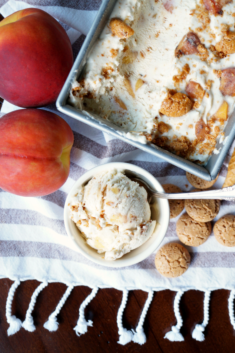 grilled peach & amaretto ice cream | The Baking Fairy