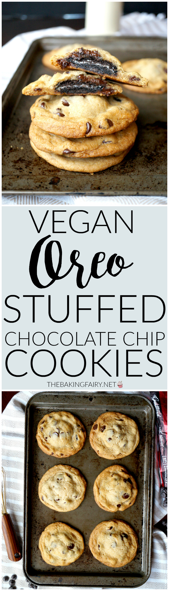 vegan oreo-stuffed chocolate chip cookies | The Baking Fairy