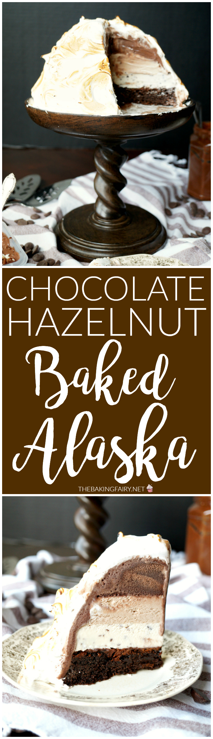 chocolate hazelnut layered Baked Alaska | The Baking Fairy