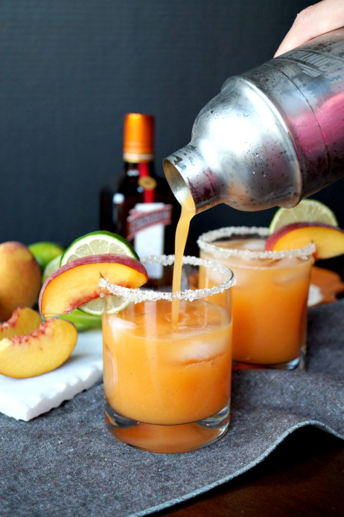 homemade peach lime margaritas