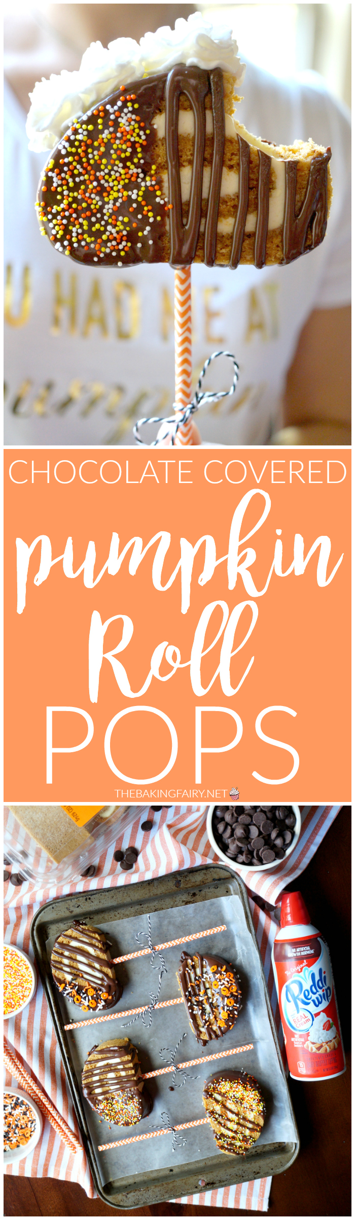 chocolate-covered pumpkin roll pops | The Baking Fairy #reddiforfall #ad