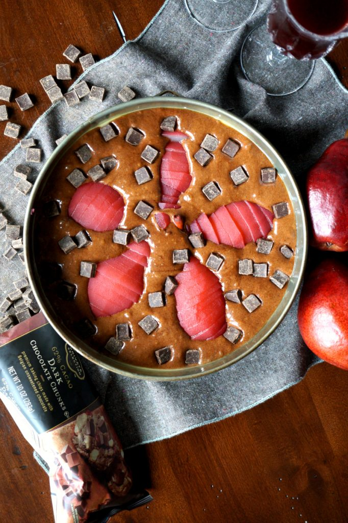 red wine poached pear chocolate cake