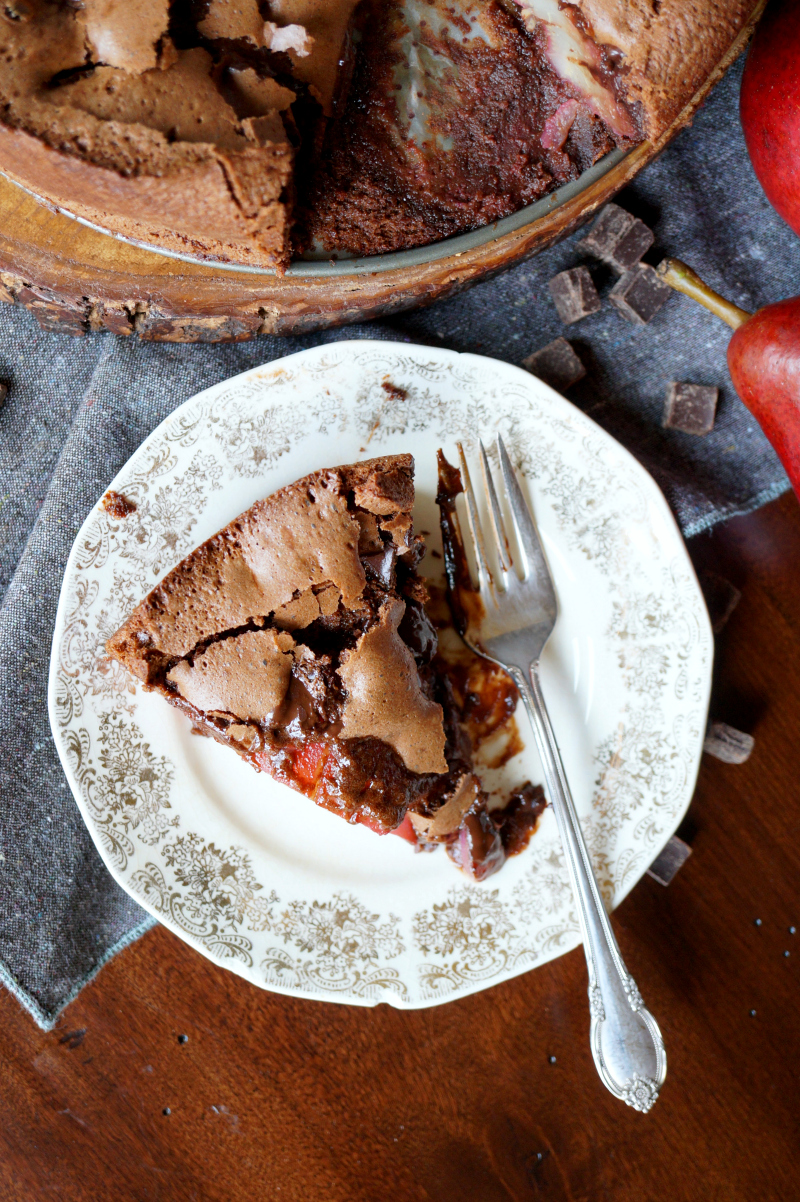 red wine poached pear chocolate cake | The Baking Fairy