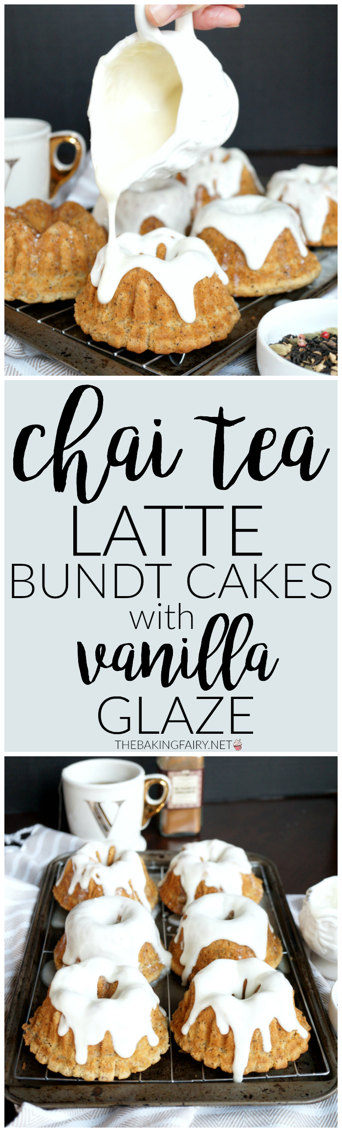 chai tea latte bundt cakes with vanilla glaze | The Baking Fairy