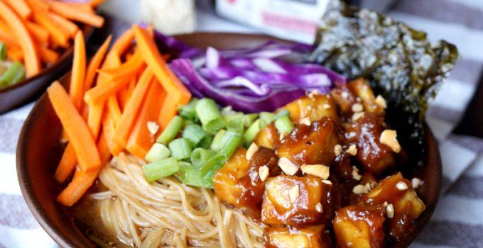 vegan ramen noodle soup with sticky peanut tofu